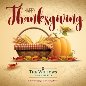 happy thanksgiving 2016, willows of ramsey hill, ramsey mn senior living